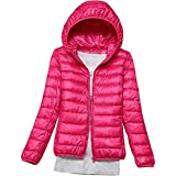 OutTop Women Puffer Jackets Winter Cotton Padded Down Jacket Hooded Ultra Lightweight Full-Zip Bubble Coat Parka Outwear (Hot Pink, L)
