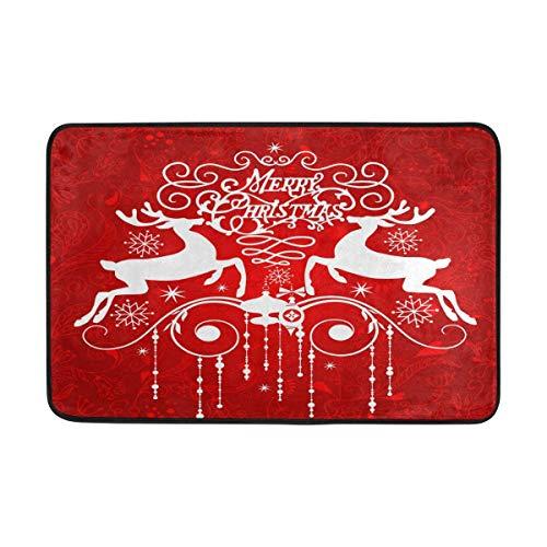Joe-shop Reno de Navidad Alfombrillas para Puerta al Aire Libre Zapatos Raspador Entrada Frontal Exterior Cojín de Nieve Rojo Copo de Nieve 60x39 Pulgadas