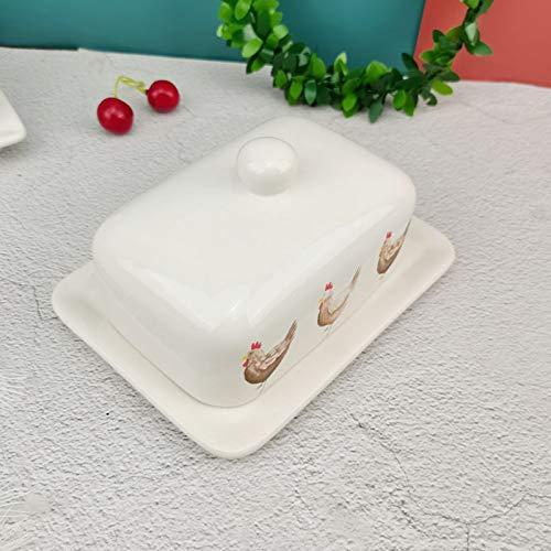 YQX-Fine Stoneware Butter Dish with Lid, Porcelain, Color,17 X 12.5 X 6 Cm,3