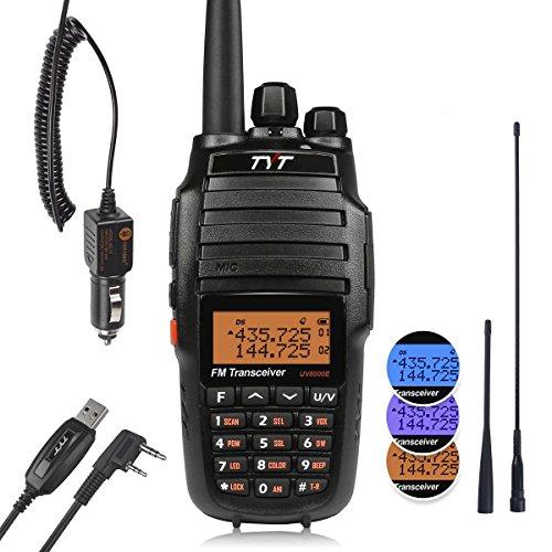 TYT UV-8000E Walkie Talkie Transceptor portátil de alta potencia-10W, Alcance de hasta 10 kmDoble Banda UHF-VHF, con batería de 3600mAh, cargador de coche, 2 antenas y cable de programación
