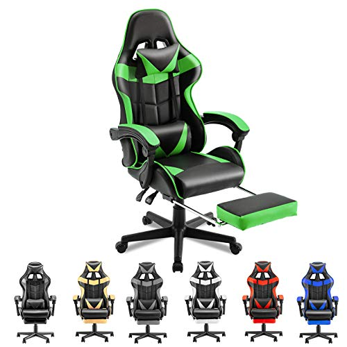 Soontrans Ergonomic Office Chair PC Gaming Chair Racing Chair for Gaming,Computer Chair,E-Sports Chair with High-Back,Adjustable Headrest and Lumbar Support,Retractable Footrest(Java Green)