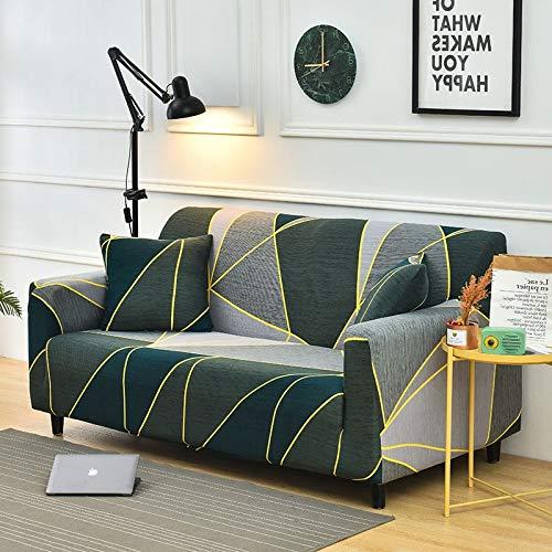 WXQY Funda Protectora de sofá elástica con patrón de Sarga geométrica Funda Protectora de Muebles, sillón elástico y Funda de sofá Toalla de sofá A11 de 3 plazas