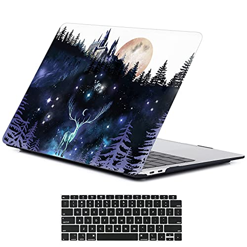 LanBaiLan Laptop Cases, Compatible for New MacBook Air 13 inch 2020 2019 2018 Release A2337 M1 A2179 A1932 Retina Display with Touch ID Plastic Harry Potter Protective Case & Keyboard Cover, Cute Deer