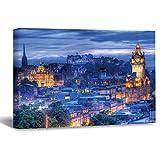 Lienzo sin marco para pared, diseño de castillo de Edimburgo, por la noche, para salón, cama, 20 x 30 cm