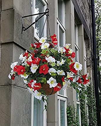 Outdoor Artificial Hanging Basket in Red & White