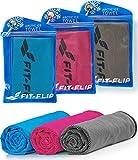 Kühltuch 3er Set 100x30cm, Mikrofaser Sporthandtuch kühlend, Kühltuch, Cooling Towel, Mikrofaser Handtuch – Farbe: blau/rosa/grau, Größe: 100x30cm