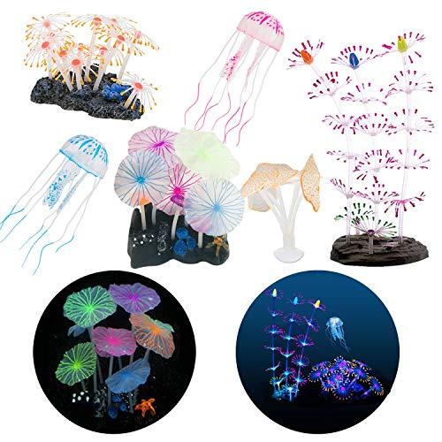 N|A Cayway 6 Stück Aquarium Wasserpflanzen Leuchtende Aquarium Dekoration Aquarium Dekoration Künstliche Quallen Künstliche Glühende Silikon Pilz for Aquarium Simulation Silikon Hydroponic Plants
