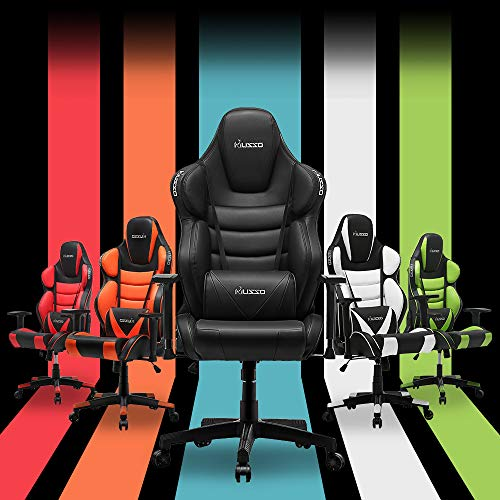 Musso Contoured (Green) Gaming Chair Adults Racing Computer Gamer Chair with Fully Foam, Esports Video Game Chair, PU Leather Executive Office Chair with Lumbar Support