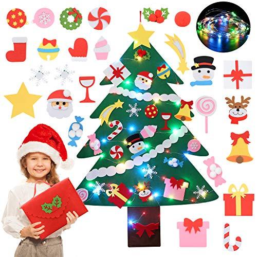 Felt Christmas Tree, Coxeer DIY Felt Christmas Tree Ornaments with 28PCS Christmas Decorations String Lights & Gift Bag,Felt Christmas Tree Decorations for Kids Christmas Party Supplies