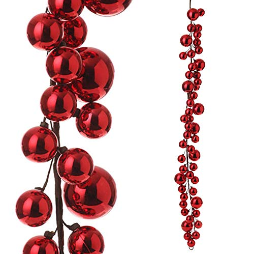 RAZ Imports - 4' Red Christmas Ball Garland