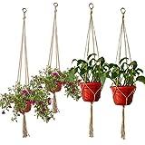 Nfudishpu Plant Hanger Set de 4 macetas Colgantes Macetero para Plantas para Decoraciones Exteriores de Interior, 2 Piezas 35.4in y 41.3in