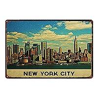 ニューヨーク市ティンサイン壁鉄絵レトロプラークヴィンテージ金属シート装飾ポスターおかしいポスター吊り工芸用バーガレージカフェホーム