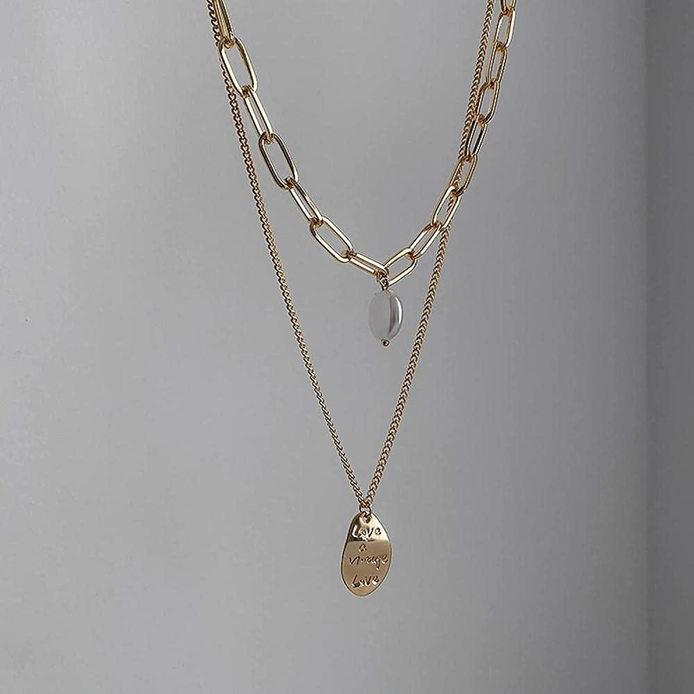 LJQJYFC Double Layer Letters NecklaceRoundIrregular NecklaceMetal PendantHip Hop StyleEuropean and American StyleValentine'sDayMother'sDayGifts