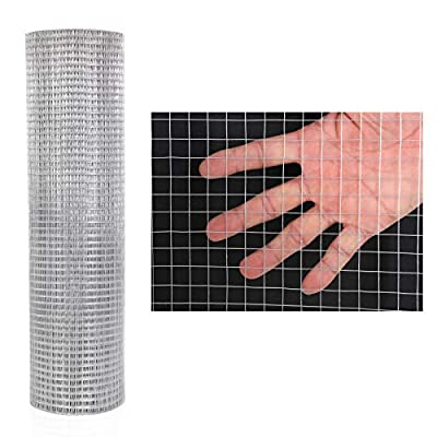 """48 x 100 Hardware Cloth 1/4 Inch 23 Gauge Galvanized After Welding Fence Mesh Roll Garden Plant Supports Poultry Netting Square Chicken Wire Snake Fencing Gopher Racoons Rabbit Pen Gutter (48""""x100')"""