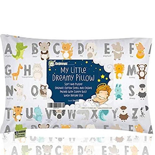 KeaBabies Toddler Pillow with Pillowcase  13X18 Soft Organic Cotton Baby Pillows for Sleeping  Machine Washable  Toddlers Kids Infant  Perfect for Travel Toddler Cot Bed Set