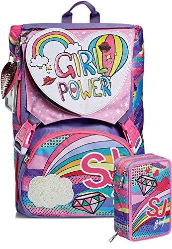 Schoolpack Zaino Seven SJ Gang Pastel Rainbow Estensibile + Astuccio Triplo Completo