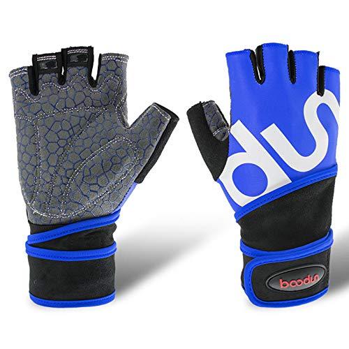 Guantes de entrenamiento Hombres Mujeres Mujeres Finger Peso Guantes de elevación con soporte de muñeca para gimnasio Ejercicio de entrenamiento de fitness,Azul,S