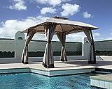 Grand patio Gazebo Exterior Impermeable, 3.3 x 3.3 m. para Camping, con Marco de Acero Negro y Doble Techo ventilado, Anti Insectos y con opción a privacidad, Color Beige