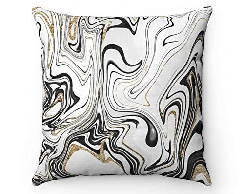 Funda de almohada abstracta color negro blanco oro gris remolino mármol moderno conjunto de baño decorativo sofá funda de almohada