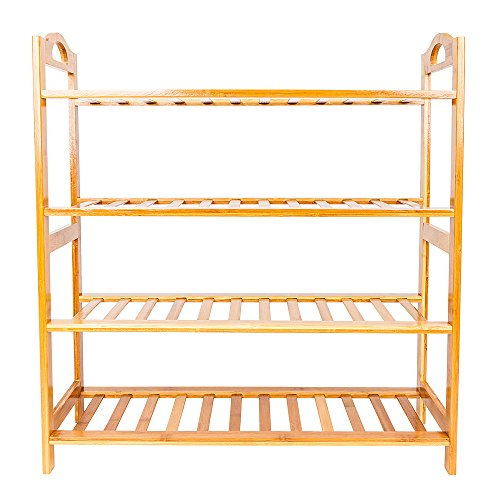 Simple Bamboo 4-Layer Shoe Rack, Shoe Rack for Channel Storage, Free Standing, Natural Shelf