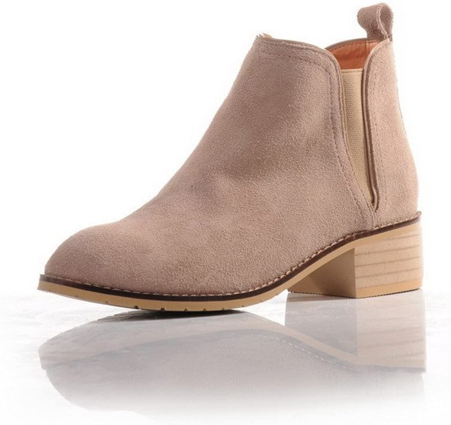 AmoonyFashion Women's Solid Round Closed Toe Cow Imitated Suede Frosted Low-top Boots