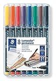 Staedtler Lumocolor 318 WP8 Folienstift, permanent, wasserfest, wischfest, sekundenschnell trocken, F-Spitze Linienbreite ca. 0.6 mm, hohe Qualität, Set mit 8 Farben