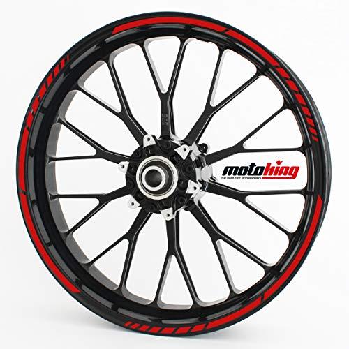 Motoking Adhesivos para Borde de llanta Rojo - Juego Completo de 10' a 14' / Color Opcionales