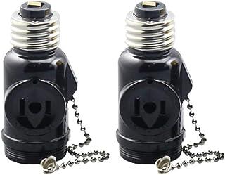 Uonlytech 2 piezas 2 tomas Enchufes de luz, adaptador de enchufe de luz Adaptador de cadena de tracción de luz E26 Enchufe de bombilla con interruptor de cadena de tracción
