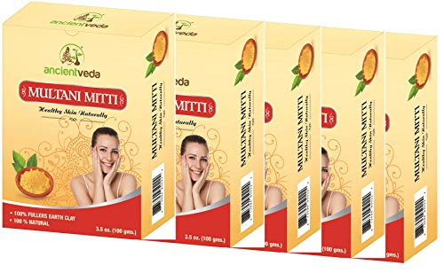 Multani Mitti 500gms, 100% Fullers Earth Clay, 100% Natural, No Chemicals, No Preservatives - 17.6 Oz(Pack of 5 X 100 Gms) - Ancient Veda