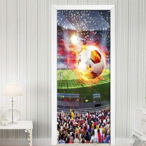 EKSDG 3D Türaufkleber Für Innentüren, Fußball-Sportstadion 77X200Cm Türtapete Selbstklebend Wasserdicht Pvc Türposter Fototapete Wandbild Für Tür Wohnzimmer Schlafzimmer Bad Und Küche