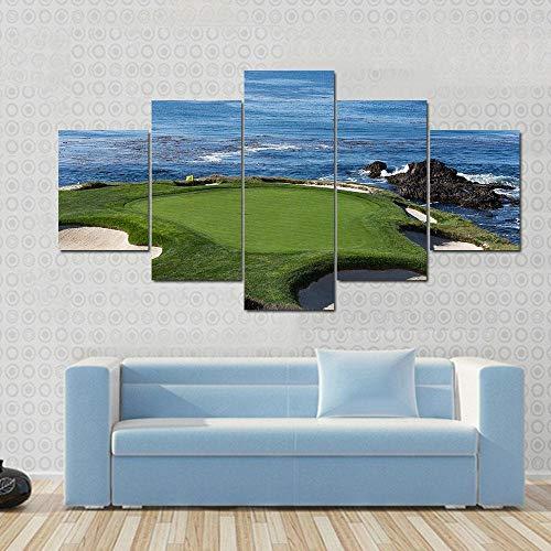 FDHGF Fünf Leinwandbilder,HD Print Malerei Leinwand Poster,Round Stone Beach Golf Natur,Modernes dekoratives Wohnzimmer Home Wall Art Decor.