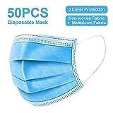 50枚使い捨て 3層の不織布マスク、超快適 防護 ほこりおよび飛沫保護、リサイクルフィルター人間工学的に設計された旅行マスク