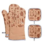 VANORIG Oven Mitts and Potholders Sets 4pcs 500°F Heat Resistant Oven Gloves with Terry Lining Non-Slip Silicone Oven Mitt for Kitchen Cooking Baking BBQ(Khaki)