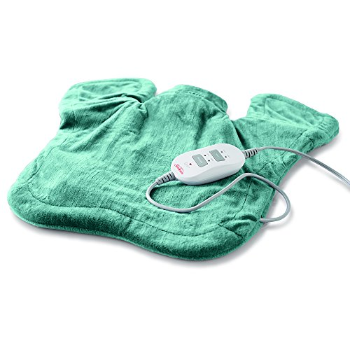 Sunbeam Heating & Massage Pad for Neck & Shoulder Pain Relief, XL Renue, 2 Heat & 2 Massage Settings with Auto-Shutoff, Jade, 25-Inch x 25-Inch