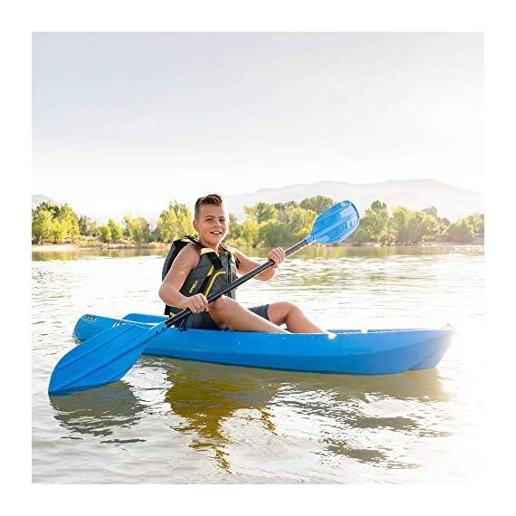 Lifetime Youth Wave Kayak (Paddle Included), Blue, 6' 6 Ergonomic Cockpit Design Enhances Balance and Motor Skills Molded finger handles on each side of the kayak Reverse chine for enhanced stability with swim-up step
