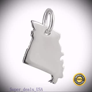 Missouri State Charm - 925 Sterling Silver Show Me MO St Louis Arch Ozark South DIY Handmade Ornament Crafts