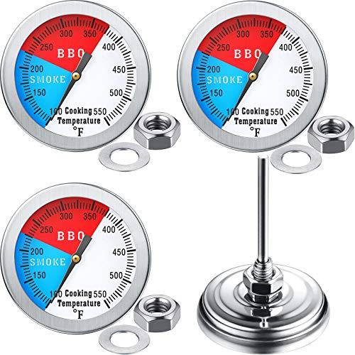 3 Medidores de Termómetro de Parrilla Barbacoa con Tuerca Hexagonal, 550 Fahrenheit 2 Pulgadas Medidor Temperatura y Indicador Calor de Parrilla de Barbacoa Ahumadores, Acero Inoxidable