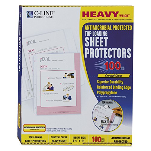 C-Line 62033 Hvywt Poly Sht Protector, Clear, Top-Loading, 2-Inch, 11 x 8 1/2, 100/BX