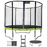 Kangui - Trampoline de Jardin Rond 305 cm + Filet + échelle + bâche + kit d'ancrage PUNCHI Vert