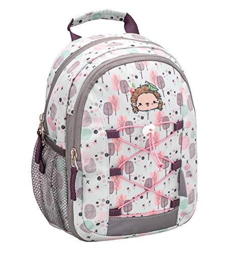 Belmil Kinderrucksack Mädchen für 1-3 Jährige - Super Leichte 260 g/Kindergarten/Krippenrucksack Kindergartentasche Kindertasche/Hedgehog, Igel/Lila, Grau (305-9 Woodland Hedgehog)