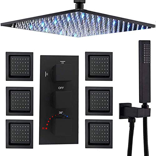 Buy AYIVG Thermostatic Shower System 16 Inch LED Square Rainfall Shower Head With 6 PCS Body Jets Se...