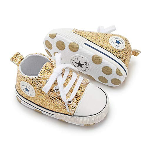 Bebila Winter Toddler Snow Boots - Lace up Baby Girls Boys Shoes Lace up Non-Skid Soft Sole Slippers Newborn Warm Ankle Fur Booties for Infant Newborn First-Walkers (12-18 Months, Gold)