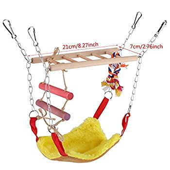 Oiseaux Swing Toy, 3 Couleurs Multi-Fonctionnel Animaux Escalade Balan?oire échelle Lit Accessoires Accessoires Suspendus Décor pour Petits Animaux Oiseaux(Rouge)