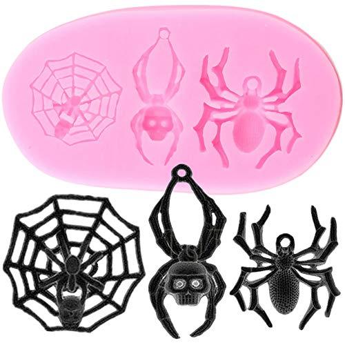 YTYASO 3D Spider Silikonformen Halloween Fondant Kuchen Dekorationswerkzeuge DIY Cupcake Topper Candy Polymer Clay Schokoladenform