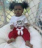 HE TUI 56CM Realista Reborn Niña Pequeña Muñeca Piel Negra Saskia con Dientes Real Touch Cuerpo Completo Silicona Juguetes para Bebés Afroamericanos para Regalo