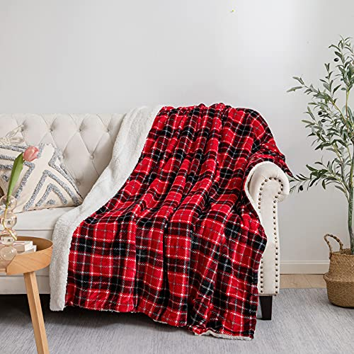 JINGCHENG Sherpa Fleece Throw Blanket Super Soft Plush Warm Reversible Flannel Blanket for Couch Bed...