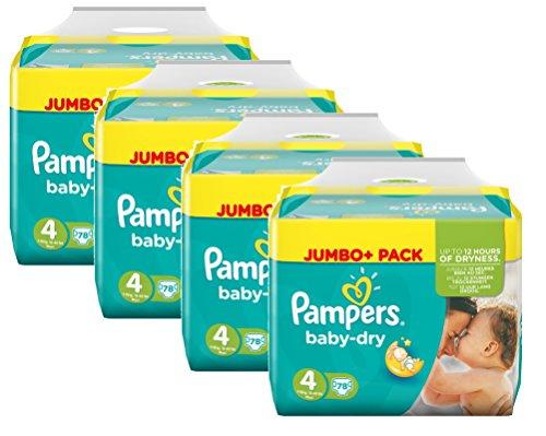 Pampers Baby Dry Größe 4 Maxi 7-18kg Jumbo Plus Pack, 4er Pack (4 x 78 Windeln)