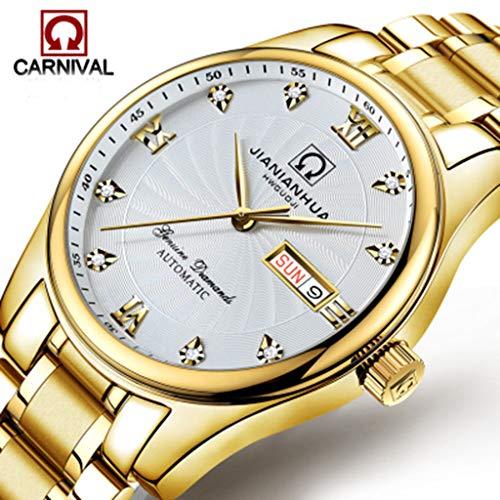 Carnival Uhr Herren Dual Kalender Armbanduhren Vollautomatische Mechanische Skeleton Gekrümmte Spiegel Oberfläche, Komfortabel Und Klassisch G