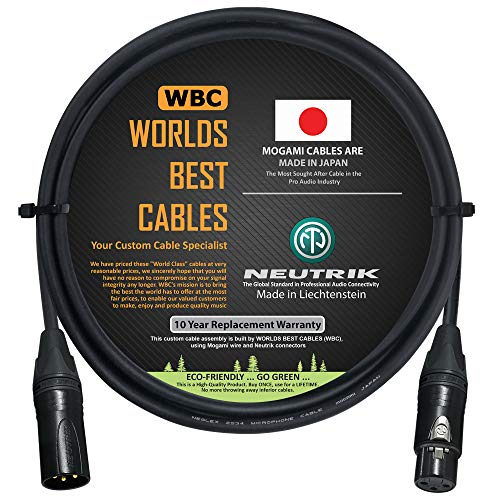 2 Foot – Quad Balanced Microphone Cable Custom Made by WORLDS BEST CABLES – Using Mogami 2534 Wire and Neutrik NC3MXX-B Male & NC3FXX-B Female XLR Plugs.