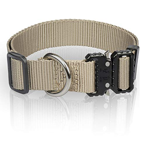 WINSEE Tactical Dog Collar No Pull Safety Nylon Adjustable K9 Collar Military Dog Collar Heavy Duty with Metal Buckle and Quick Snap for Dogs Small Medium Large